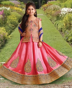 Pink Silk Heavy Embroidery Girls A Line Lehengas