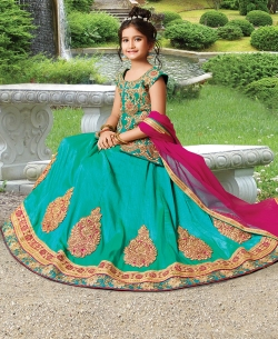 Green Silk Heavy Embroidery Girls A Line Lehengas