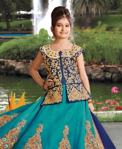 Rama Green Silk Heavy Embroidery Girls A Line Lehengas