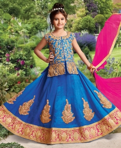 Blue Silk Heavy Embroidery Girls A Line Lehengas