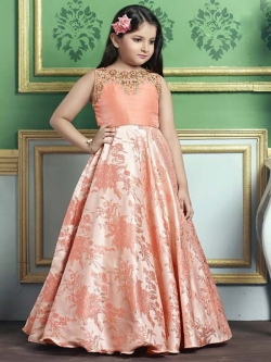 Peach Orange Jacquard  Zardoshi With Paral With  Emblellishment Work Girls Gown