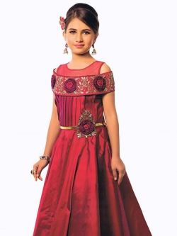 Maroon Canton Silk Zardoshi With Paral With  Emblellishment Work Girls Gown