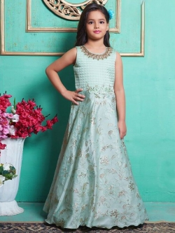 Ice Green Jacquard  Zardoshi With Paral With  Emblellishment Work Girls Gown