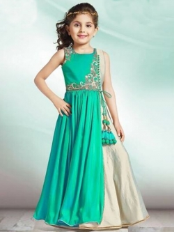 Aqua Green Cream Paper Silk Zardoshi With Paral With  Emblellishment Work Girls Gown