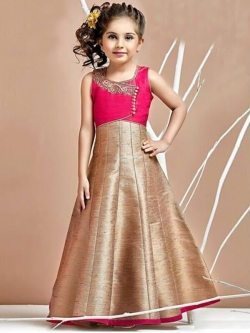 Hot Pink Rose Pink Malbari Silk Zardoshi With Paral With  Emblellishment Work Girls Gown