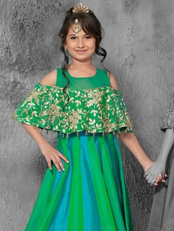 Green& Morpiche Jacquard  Zardoshi With Paral With  Emblellishment Work Girls Gown