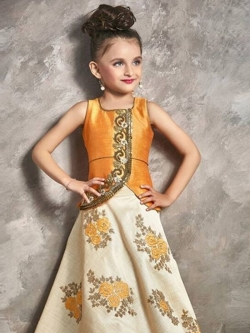 Mango Malbon Silk Hand Work With Chian Work With Embroidary Work  Girls Gown
