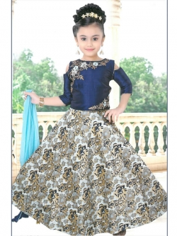 Navy Blue Phatam Silk  Hand Work With Zardosi With Peal With Resham Work Girls Gown