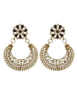 White Non Precious Metal Pearls Chandbali