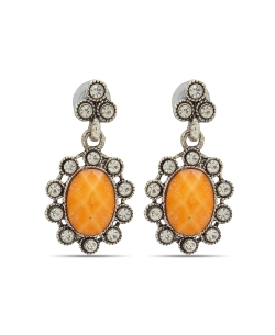 Orange Non Precious Metal Stones, Crystals Drops