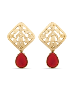 Red And  Gold Non Precious Metal Stones, Crystals Drops