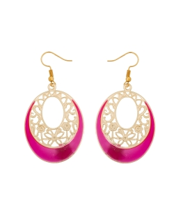 Gold And  Pink Non Precious Metal Enamel Work Hoops & Hooks