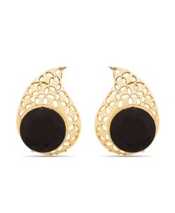 Black And  Gold Non Precious Metal Stones, Crystals Studs