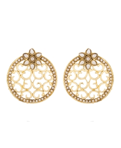 White And  Gold Non Precious Metal Pearls Studs