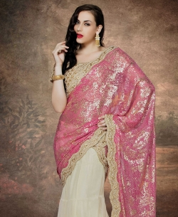 Off White And Pink Net, Lycra Stones, Crystals Lehenga Sarees