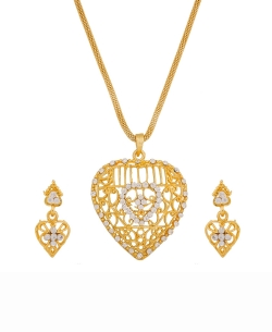 Gold And  White Alloy American Diamonds Pendant Set