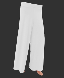 White Cotton Blend Solid Palazzo Pants