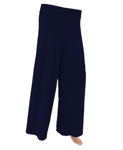 Navy Blue Cotton Blend Solid Palazzo Pants