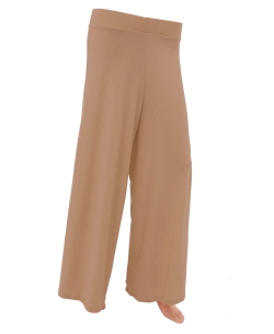 Tan Brown Cotton Blend Solid Palazzo Pants
