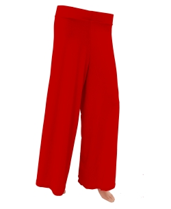 Red Cotton Blend Solid Palazzo Pants