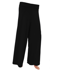 Black Cotton Blend Solid Palazzo Pants
