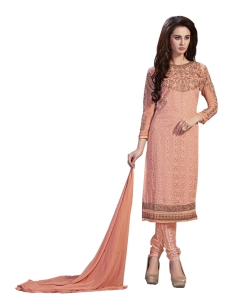 Peach Georgette Blend Embroidered Salwar Suits