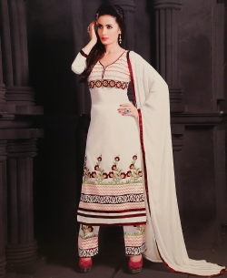 White Georgette Blend Embroidered Salwar Suits