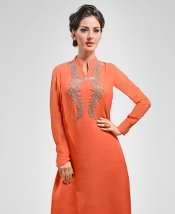 Coral Georgette Patch Work Tunic Tops