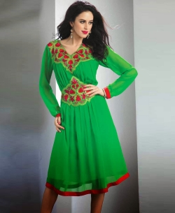 Green Georgette Embroidered Tunic Tops