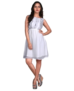 White Georgette Solid Tunic Tops